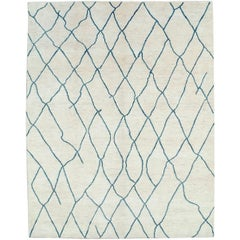 Contemporary Moroccan Style Large Room Size Carpet in White and Blue