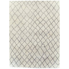 Contemporary Moroccan Style Large Room Size Carpet in White and Dark Grey