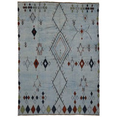 Contemporary Moroccan Overdyed Rug with Tribal Design