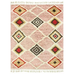 Contemporary Moroccan Style Pink and Ivory Wool Rug with Geometric Pattern