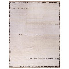 Contemporary Moroccan Style Rug Cream White Open Field Mohair Rug