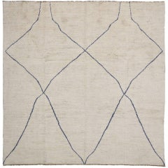 Contemporary Moroccan Style Rug with Modern Design, Square Rug