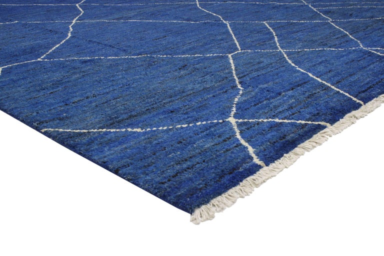 80290 New Contemporary Blue Moroccan Style Rug with Abstract Expressionist Style 10'04 x 13'03. This hand knotted wool contemporary Moroccan area rug with Abstract Expressionist style features an all-over diamond lattice pattern spread across an