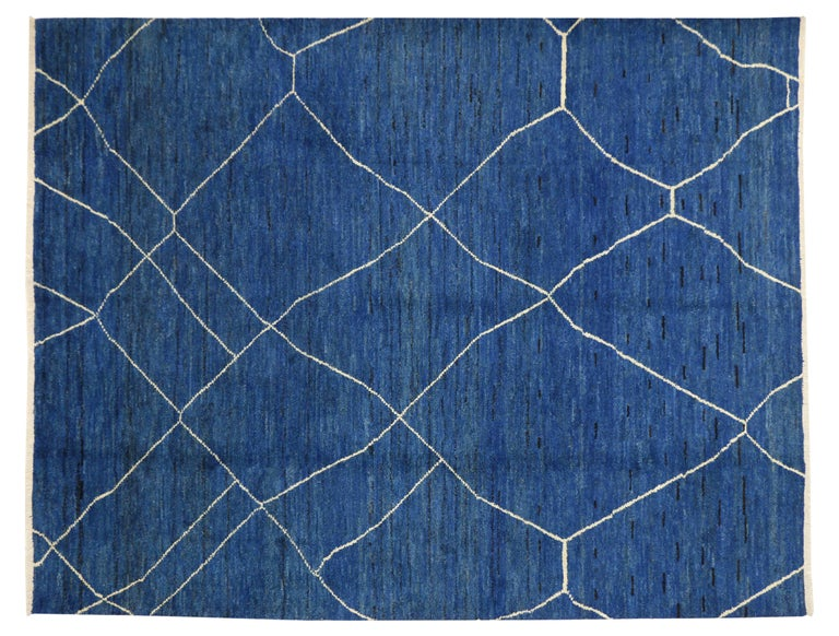 Pakistani New Contemporary Blue Moroccan Style Rug with Abstract Expressionist Style For Sale
