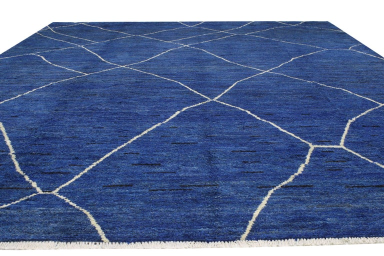 Hand-Knotted New Contemporary Blue Moroccan Style Rug with Abstract Expressionist Style For Sale