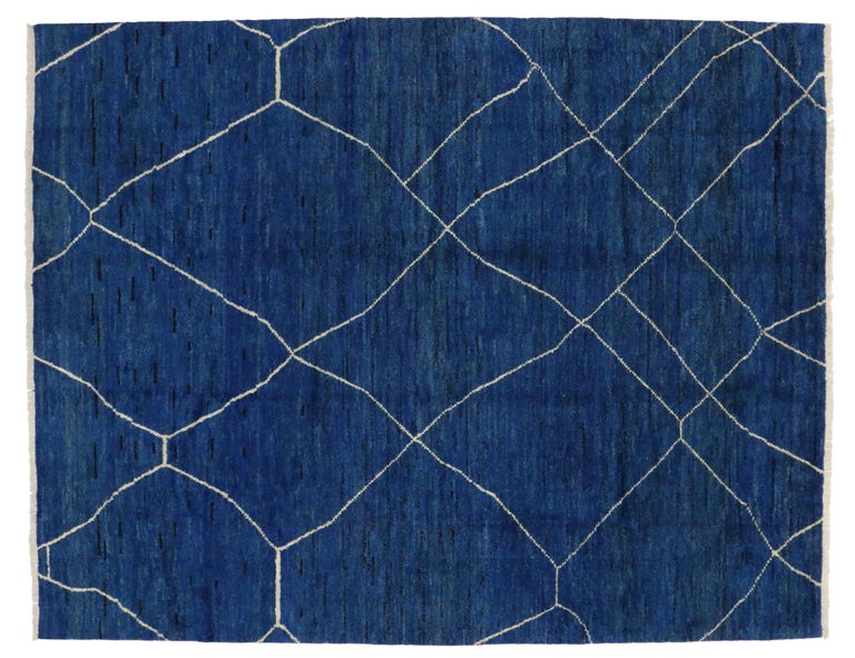 Wool New Contemporary Blue Moroccan Style Rug with Abstract Expressionist Style For Sale