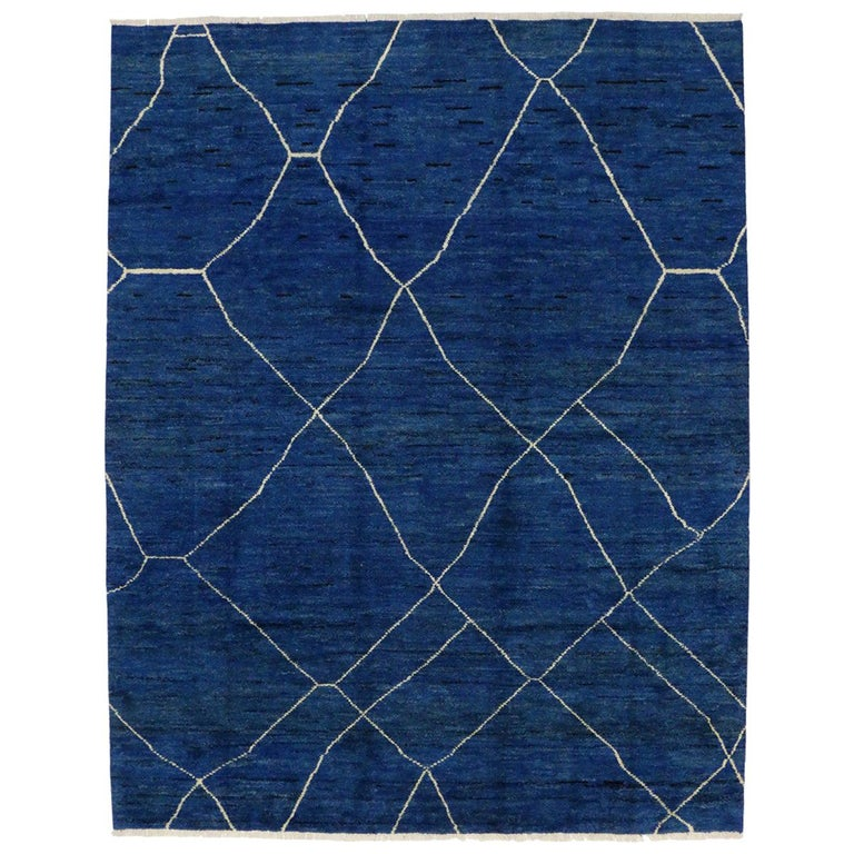 New Contemporary Blue Moroccan Style Rug with Abstract Expressionist Style For Sale