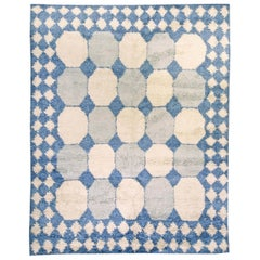 Contemporary Moroccan White and Blue Handwoven Wool Rug