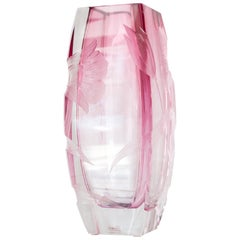 Contemporary Moser Rosalin Pink Floral Vase