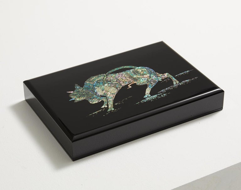 Lacquered Contemporary Mother of Pearl Black Document Box with Bull Design by Arijian For Sale