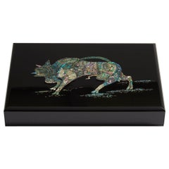 Contemporary Mother of Pearl Black Document Box with Bull Design by Arijian