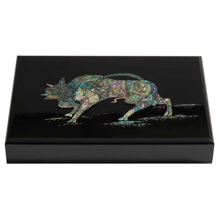 Contemporary Mother of Pearl Black Document Box with Bull Design by Arijian For Sale
