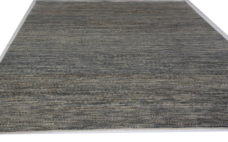 Contemporary Multi-Color Gabbeh with Silver and Blue In New Condition For Sale In Los Angeles, CA