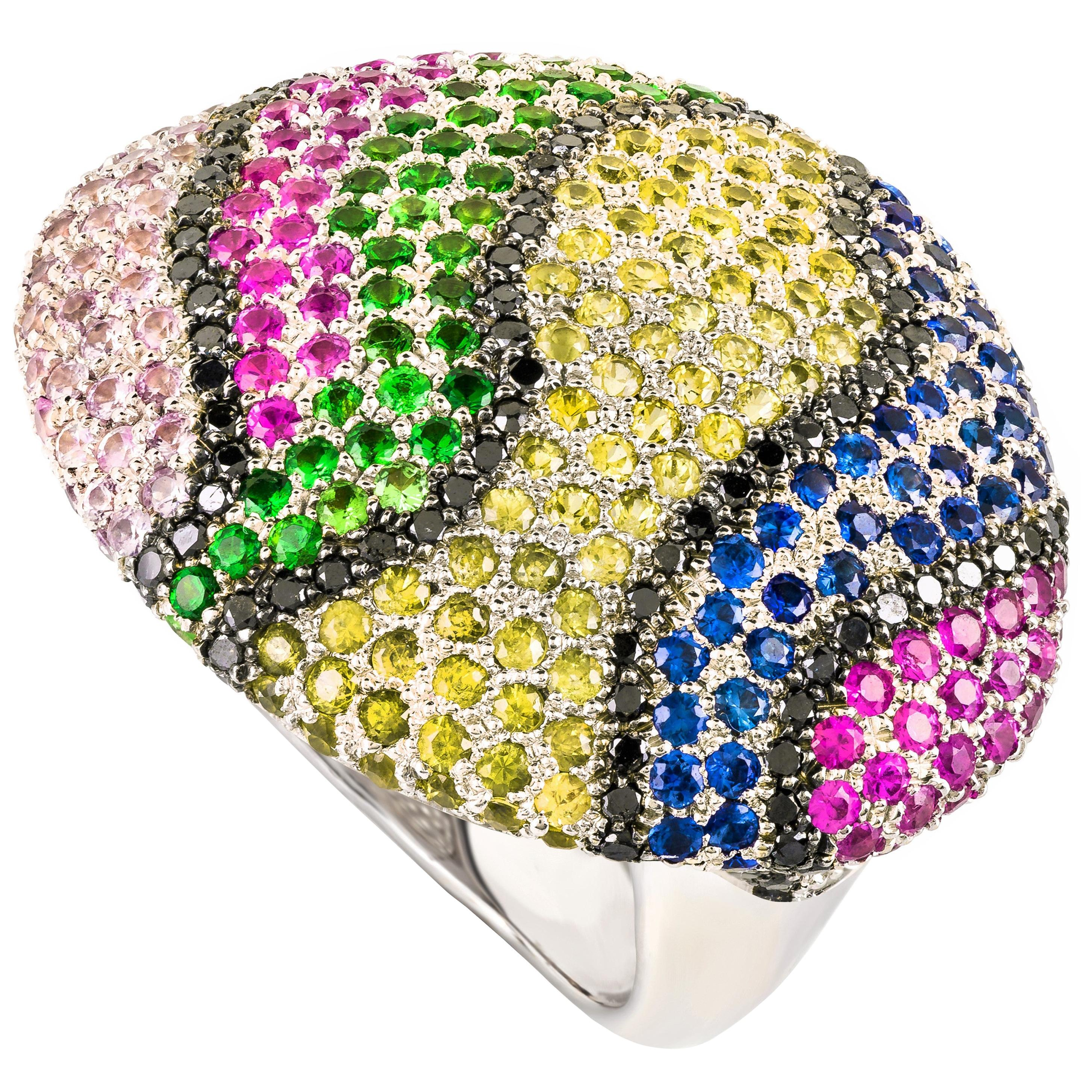 Contemporary Multi-Color Gemstone and White Gold Cocktail Ring