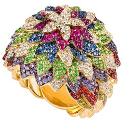 Contemporary Multi-Color Gemstone Cocktail Ring in 19.2 Karat Yellow Gold