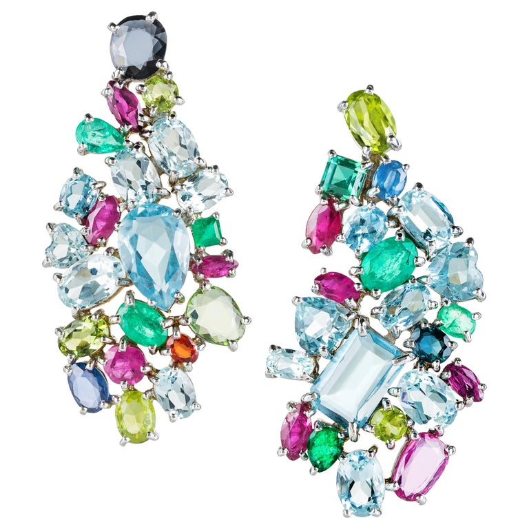 Contemporary Multi-Color Gemstone Drop Earrings in White Gold For Sale