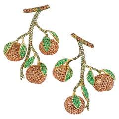 "Contemporary Multi-Color Gemstone ""Mandarin"" Long Earrings in Yellow Gold"