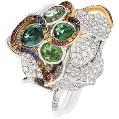 """Contemporary Multi-Color Gemstone """"Snakes"""" Ring in White and Yellow Gold"""