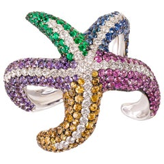 "Contemporary Multi-Color Gemstone ""Starfish"" Cocktail Ring in White Gold"