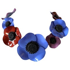 """Contemporary Multi Color Poppy Statement """"Collier"""" Necklace"""