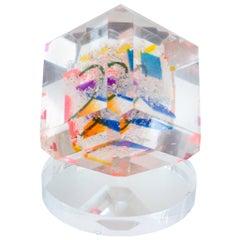 Contemporary Multi-Colored Acrylic Square Cube Sculpture
