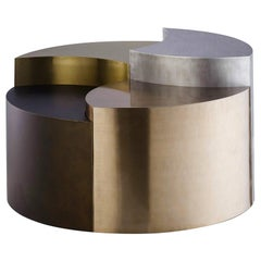 Contemporary Multi-Height Metallic Coffee Table Made of Mixed Metals