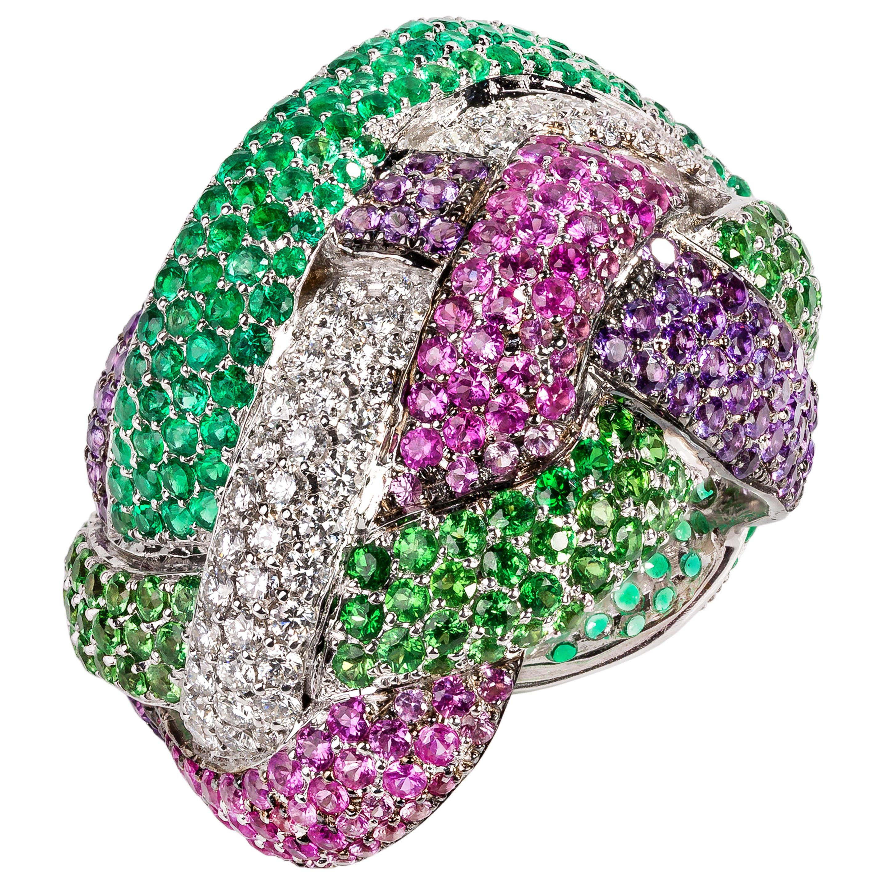 Contemporary Multi-Color Gemstone Cocktail Ring in 19.2 Karat White Gold