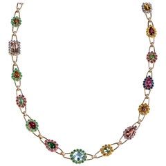 Rosior Diamond, Tourmaline and Sapphire 80 cm Long Chain Necklace