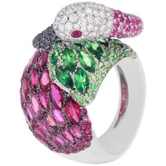 "Contemporary Multi-Color Gemstone ""Swan"" Ring in White Gold"