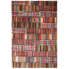 Rug & Kilim's Contemporary Multicolor Patchwork Wool Kilim Rug