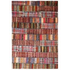 Rug & Kilim's Contemporary Multicolor Patchwork Wool Kilim Rug