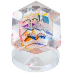 Contemporary Multicolored Acrylic Cube Sculpture