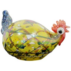 Contemporary Multicolored Glass Rooster Table Sculpture Signed 7/40