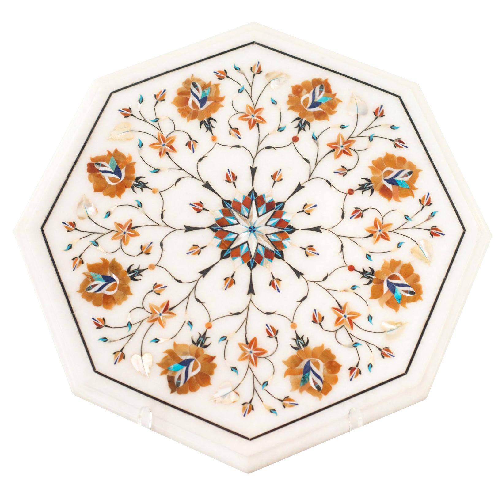 Contemporary Multicolour Pietra Dura Octagonal Marble Inlay Platter