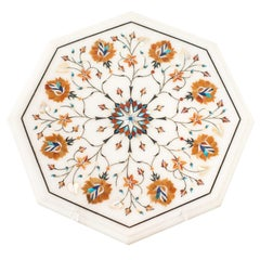Contemporary Multicolour Pietra Dura Octagonal Marble Inlay Platter