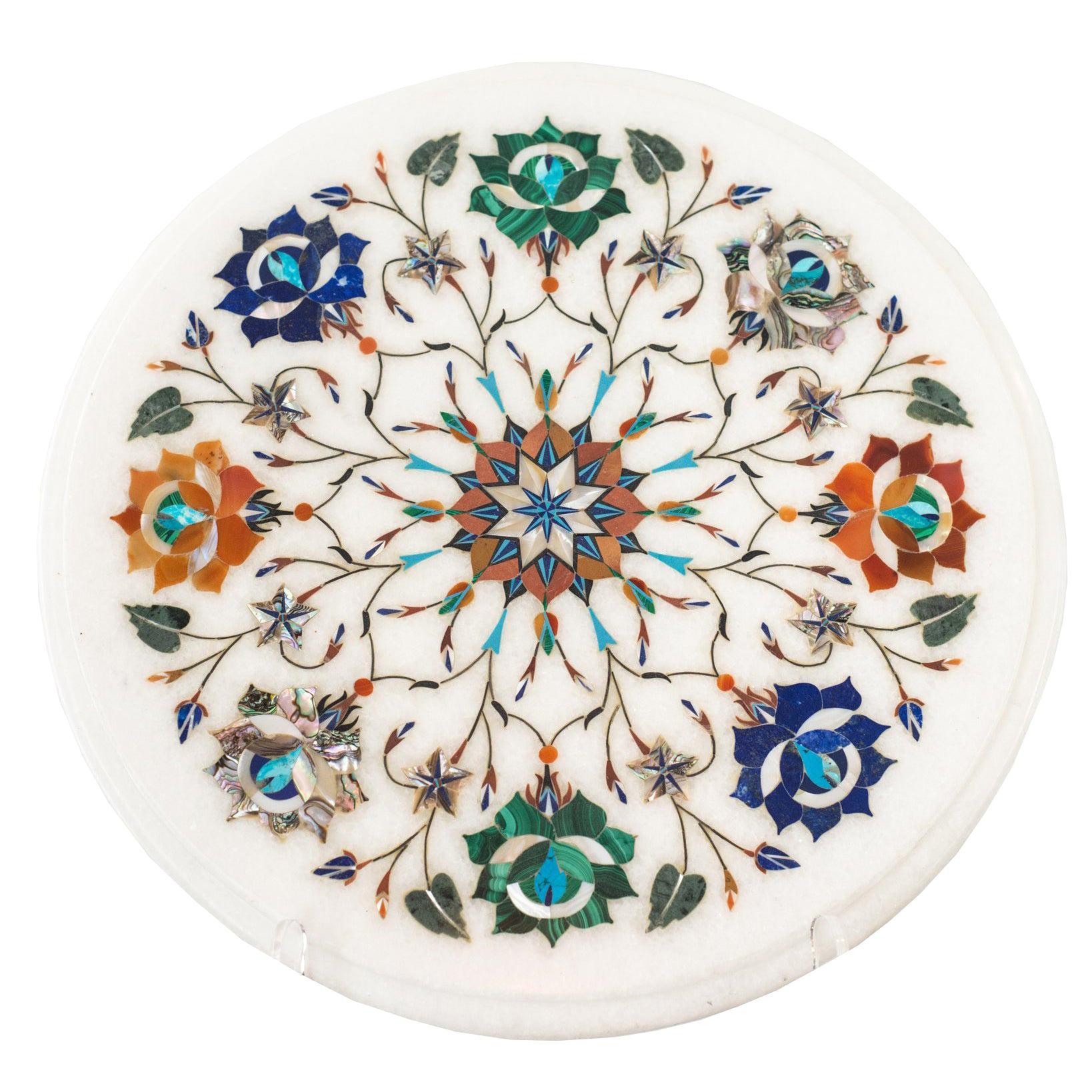 Contemporary Multicolour Pietra Dura Round Marble Inlay Platter
