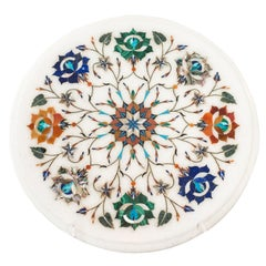 Contemporary Multicolour Pietra Dura Round Marble Inlay Platter