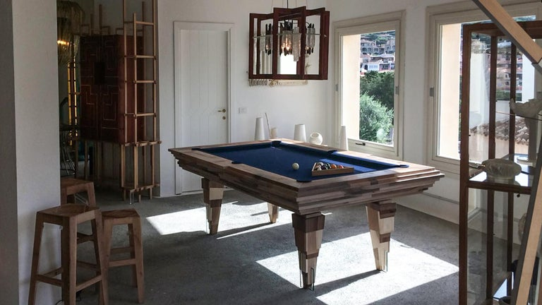 Contemporary Multifunctional Billiard or Game Table, Cocktail Table and Paravent For Sale 12