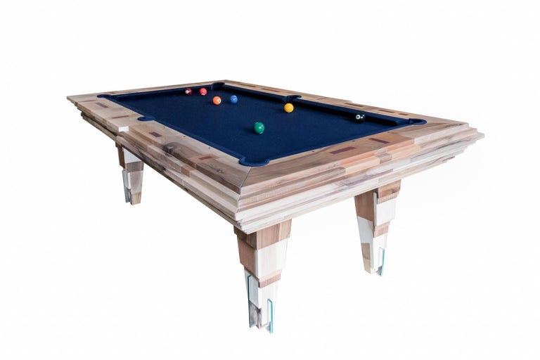 The pool table light tropics is a collaboration betweenHillsideout and Hermelin Billiards Milan – leader in the industry since 1825 – and was built around the concepts of elegance, light, contemporary and handmade design.  After the first