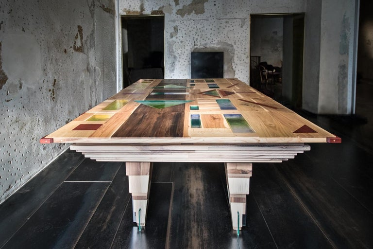 Neoclassical Contemporary Multifunctional Billiard or Game Table, Cocktail Table and Paravent For Sale