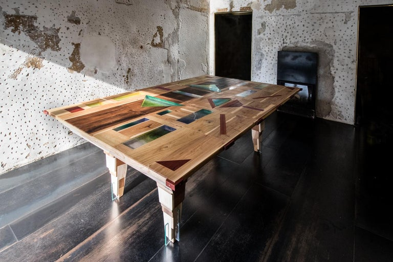 Marquetry Contemporary Multifunctional Billiard or Game Table, Cocktail Table and Paravent For Sale