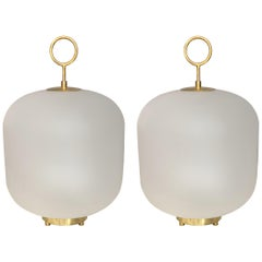 Contemporary Murano Glass Can Lamps Brass Ring, Italy