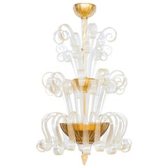 Contemporary Murano Glass Chandelier 24-Karat Gold, Giovanni Dalla Fina, Italy