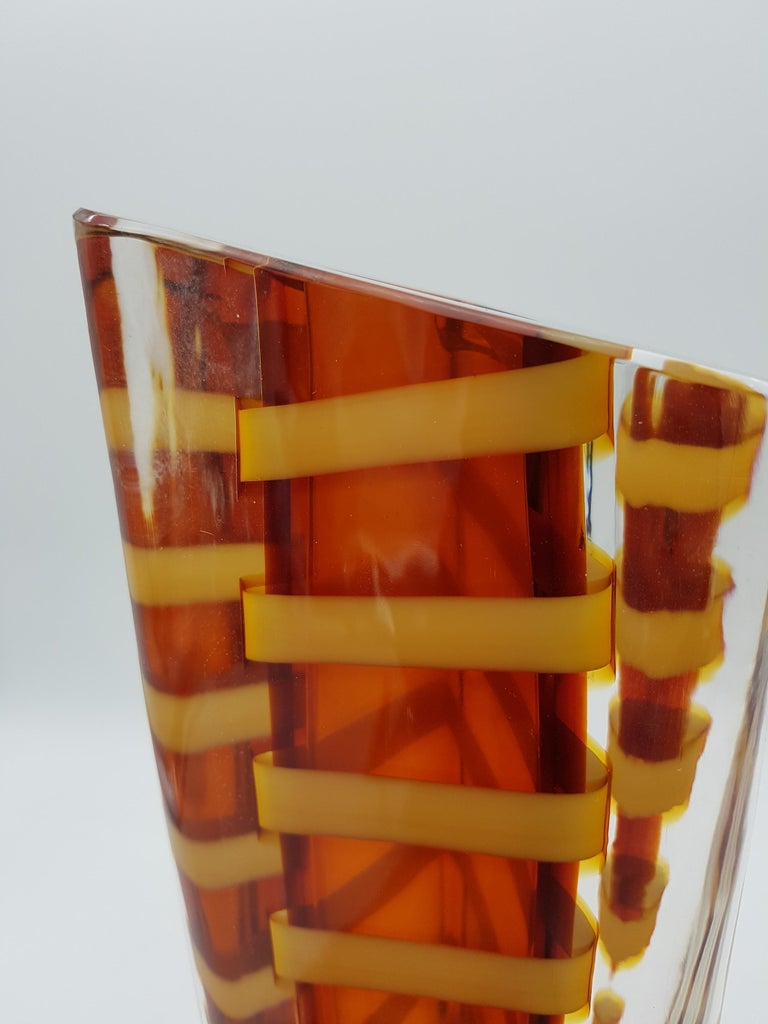 Contemporary Murano Glass Vase by Cenedese, Amber and Yellow Color, late 1990s For Sale 6