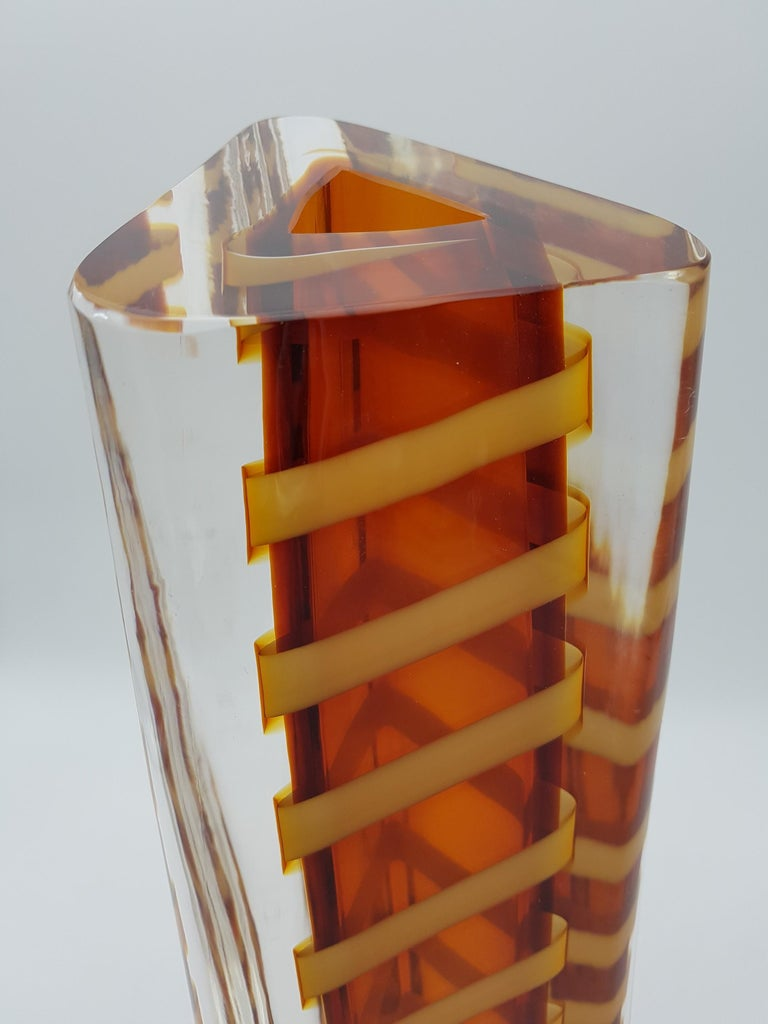 Contemporary Murano Glass Vase by Cenedese, Amber and Yellow Color, late 1990s For Sale 7