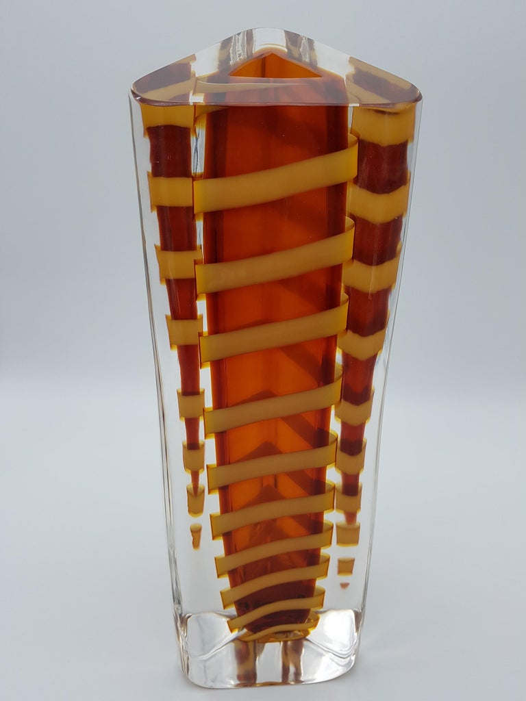 Contemporary Murano Glass Vase by Cenedese, Amber and Yellow Color, late 1990s For Sale 8