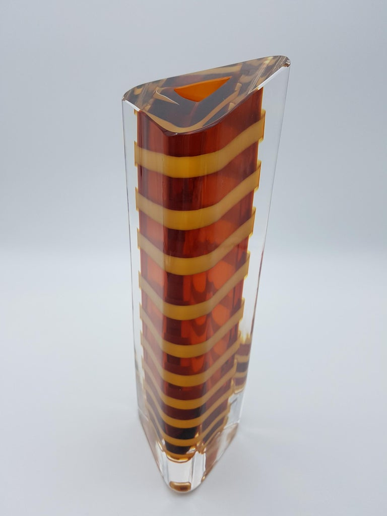 Hand-Crafted Contemporary Murano Glass Vase by Cenedese, Amber and Yellow Color, late 1990s For Sale