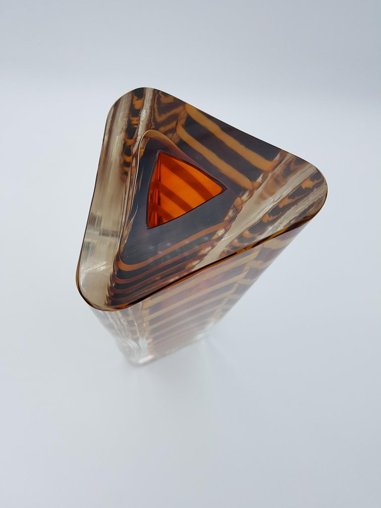 Late 20th Century Contemporary Murano Glass Vase by Cenedese, Amber and Yellow Color, late 1990s For Sale