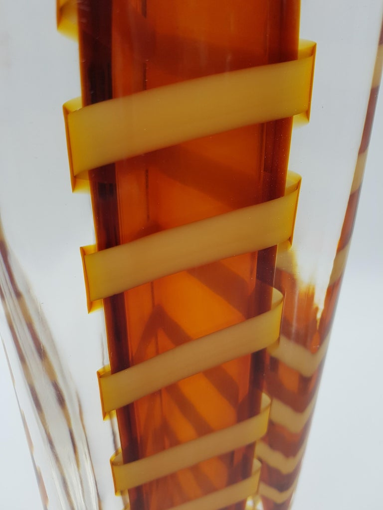 Contemporary Murano Glass Vase by Cenedese, Amber and Yellow Color, late 1990s For Sale 2