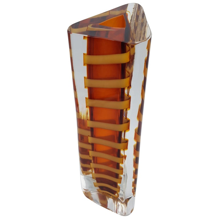 Contemporary Murano Glass Vase by Cenedese, Amber and Yellow Color, late 1990s For Sale